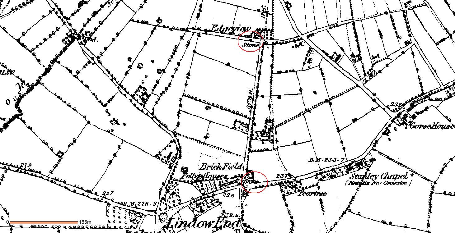 Boundary Stones on Edge View Lane in 1875.