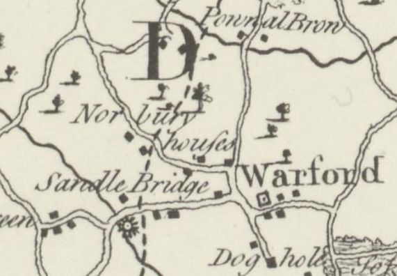 Extract from Burdetts Map of Cheshire, 1777, showing a windmill
