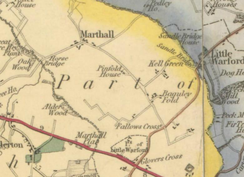 Bryant's Map of 1831 showing the centre of Marthall
